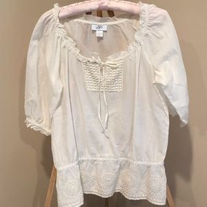 LOFT brand new white peasant blouse